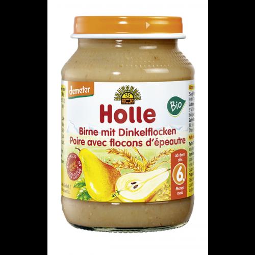 """Βιολογικό παιδικό γεύμα αχλάδι & νιφάδες ντίνκελ Demeter (από 6 μηνών) """"Holle"""" 190gr"""
