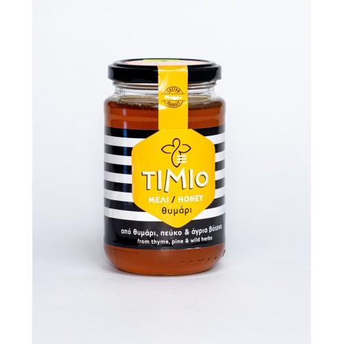 """Θυμαρίσιο Μέλι Ρεθύμνου με Πεύκο & άγρια βότανα """"Τίμιο"""" 450gr"""