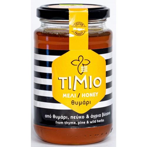 """Θυμαρίσιο Μέλι Ρεθύμνου με Πεύκο & άγρια βότανα """"Τίμιο"""" 950gr"""