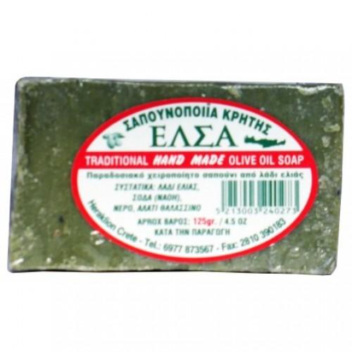 """Παραδοσιακό Σαπούνι πράσινο χειροποίητο Κρήτης """"ΕΛΣΑ"""" 125gr"""