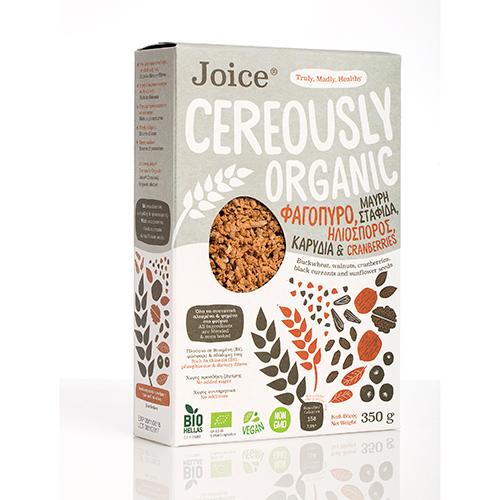 """Βιολογικά Δημητριακά με Φαγόπυρο, Μαύρη Σταφίδα, Ηλιόσπορο, Καρύδια και Cranberries """"Joice Cereously Organic"""" 350gr"""