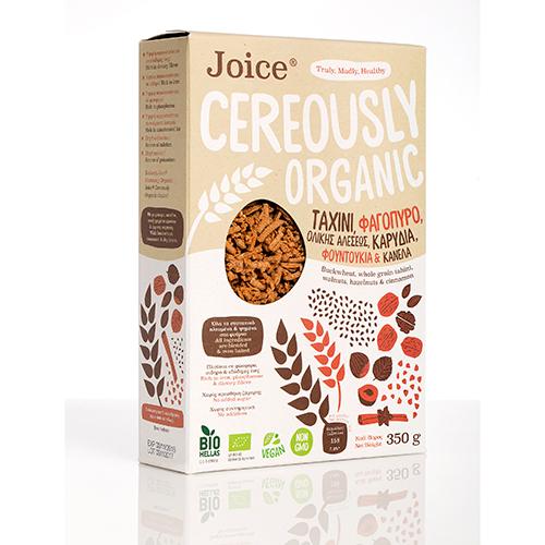 """Βιολογικά Δημητριακά με Ταχίνι, Φαγόπυρο, Καρύδια, Φουντούκια και Κανέλα """"Joice Cereously Organic"""" 350gr"""