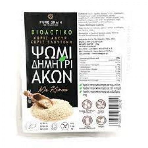 """Βιολογικό ψωμί δημητριακών Κινόα χωρίς γλουτένη & χωρίς ζάχαρη """"Pure Grain"""" 275gr"""