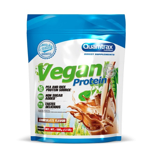 "Vegan Vegetarian Protein Chocolate (Πρωτεϊνη) ""Quamtrax"" 500gr"