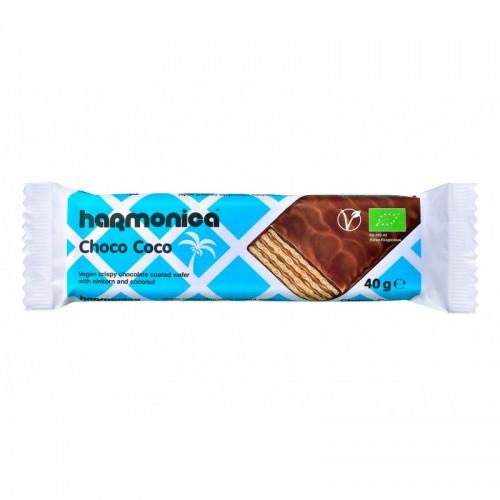 """Βιολογική Γκοφρέτα μονόκοκκου σίτου με επικάλυψη σοκολάτας & καρύδα """"Harmonica"""" 40gr"""