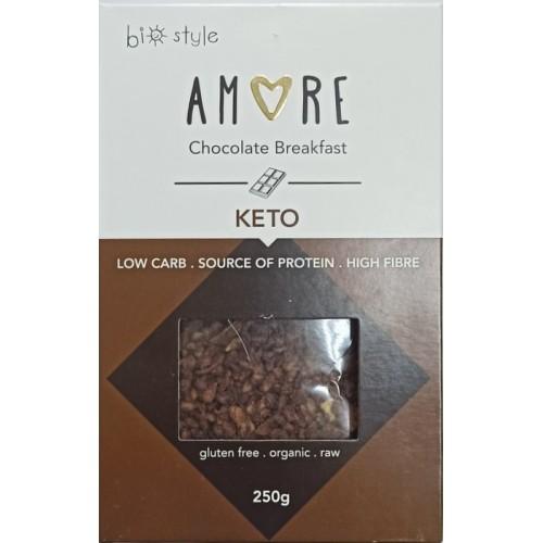 """Βιολογική Granola (Γκρανόλα) σοκολάτα KETO χωρίς γλουτένη VEGAN """"Amore"""" 250gr"""