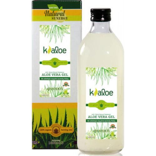 """Βιολογικός χυμός φρέσκιας Αλόης με κομματάκια Αλόης & στέβια """"KALOE"""" 1lt"""